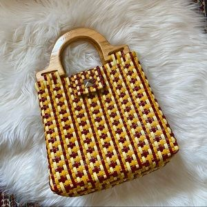 Vintage Yellow & Red Rubber Weave Clutch Purse